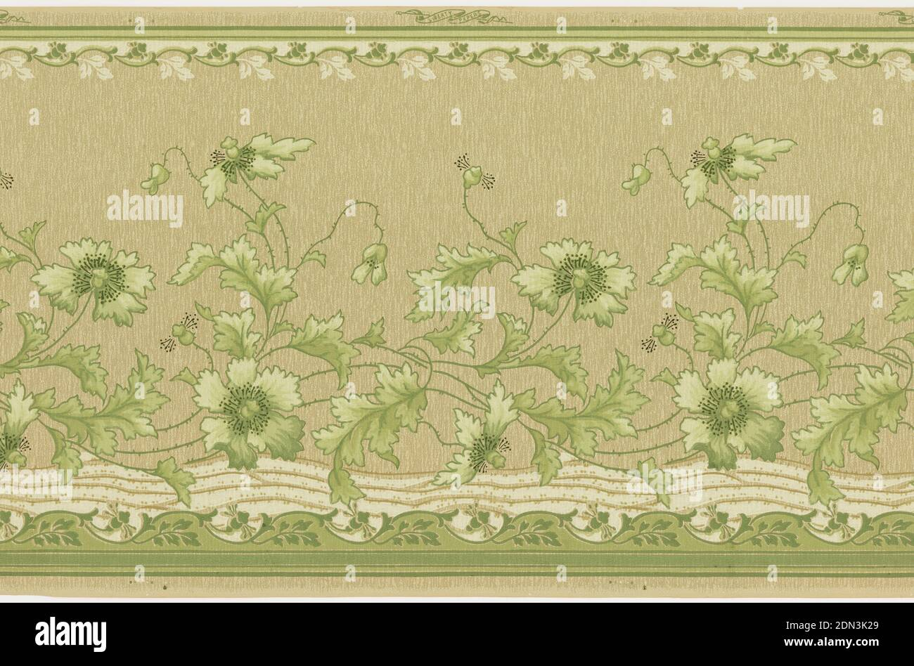 Frieze, Liberty Wall Paper Company, Schuylerville, New York, Machine-printed paper, Horizontal ribbon-like stripe with lines crisscrossing horizontallyally inside it, and with green flower vines twisting above them. Background has an overall wavy line and dot pattern. Top and bottom have bands of waving floral vines. Ground is beige. Printed in beige, green, and cream., Printed in selvedge: 'Standard Papers', Schuylerville, New York, USA, 1905–1915, Wallcoverings, Frieze Stock Photo