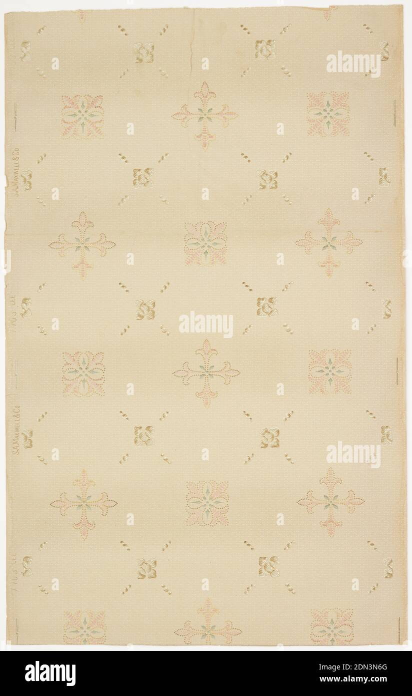 Ceiling paper, Maxwell & Co., S.A., Chicago, Illinois, USA, Machine-printed paper, liquid mica, Trellis or grid pattern formed with larger four-petaled floral motifs, and smaller sqaure floral motifs. Repeating series of three dots helps form the trellis framework. Printed in pink, tan, and green on dotted tan ground., USA, 1905–1915, Wallcoverings, Ceiling paper Stock Photo