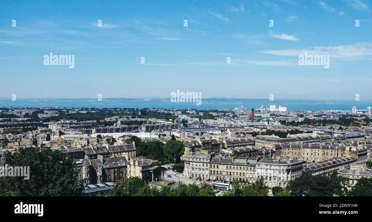 EDINBURGH, UK - CIRCA JUNE 2018: Aerial view of the city seen from Calton Hill Stock Photo