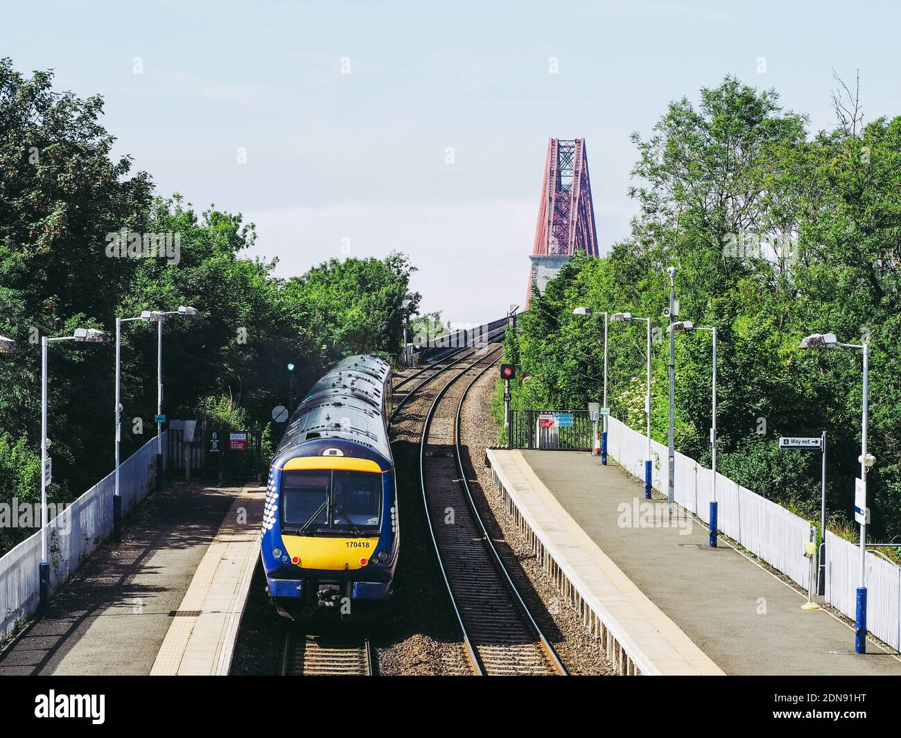 EDINBURGH, UK - CIRCA JUNE 2018: Dalmeny railway station for the Forth bridge Stock Photo