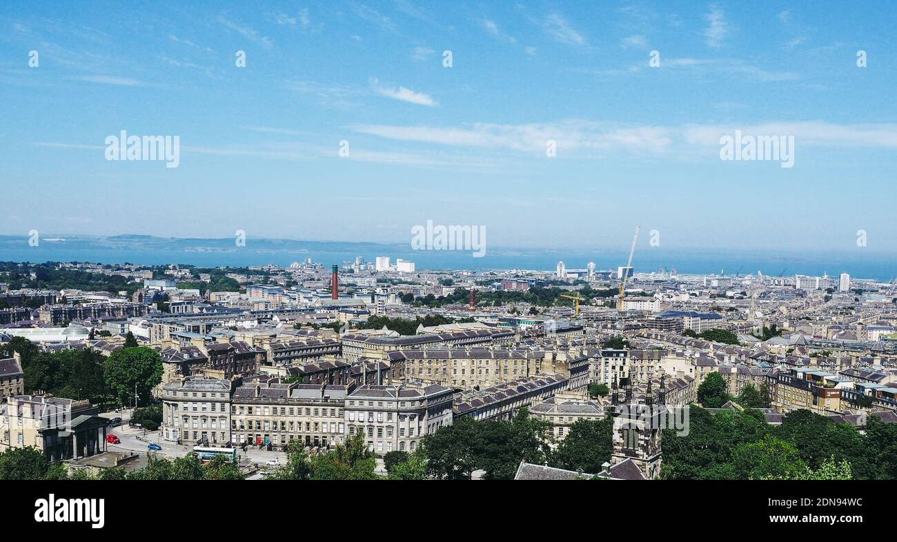 EDINBURGH, UK - CIRCA JUNE 2018: Aerial view of the city seen from Calton Hill Stock Photo