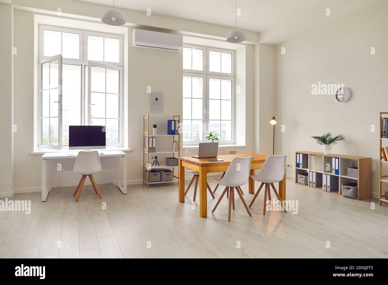 Interior of modern business office or workplace space Stock Photo