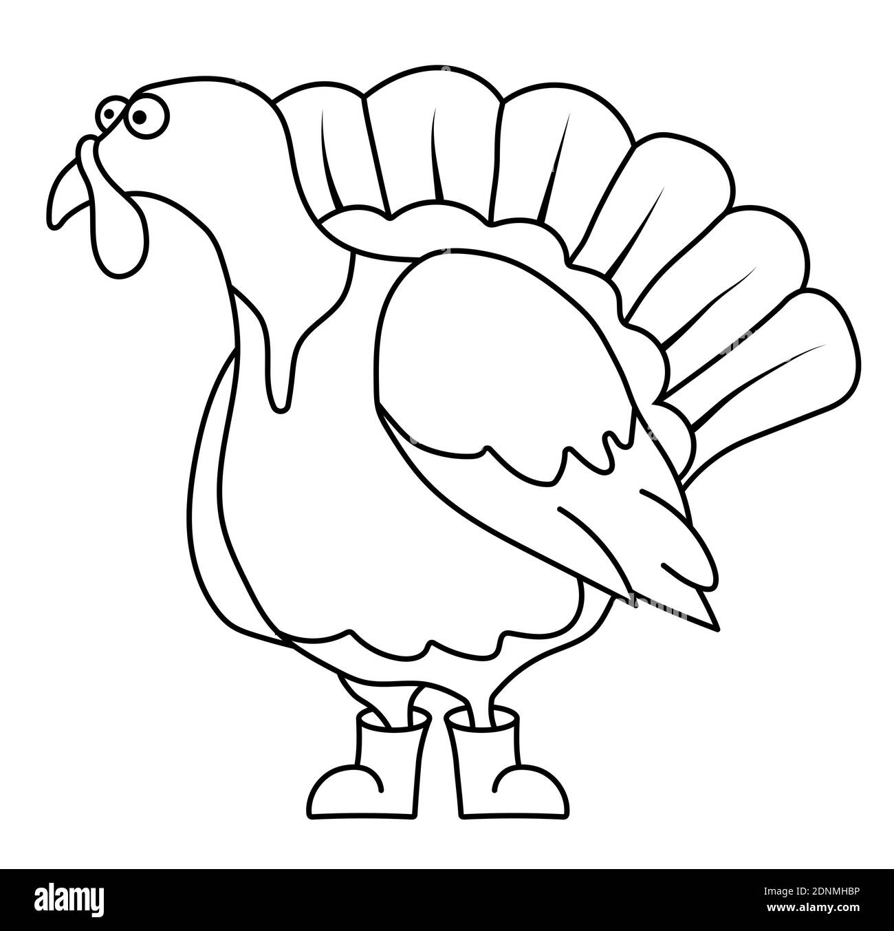 Funny turkey in a linear style for coloring. Children games. Children drawing for coloring. Vector Stock Vector