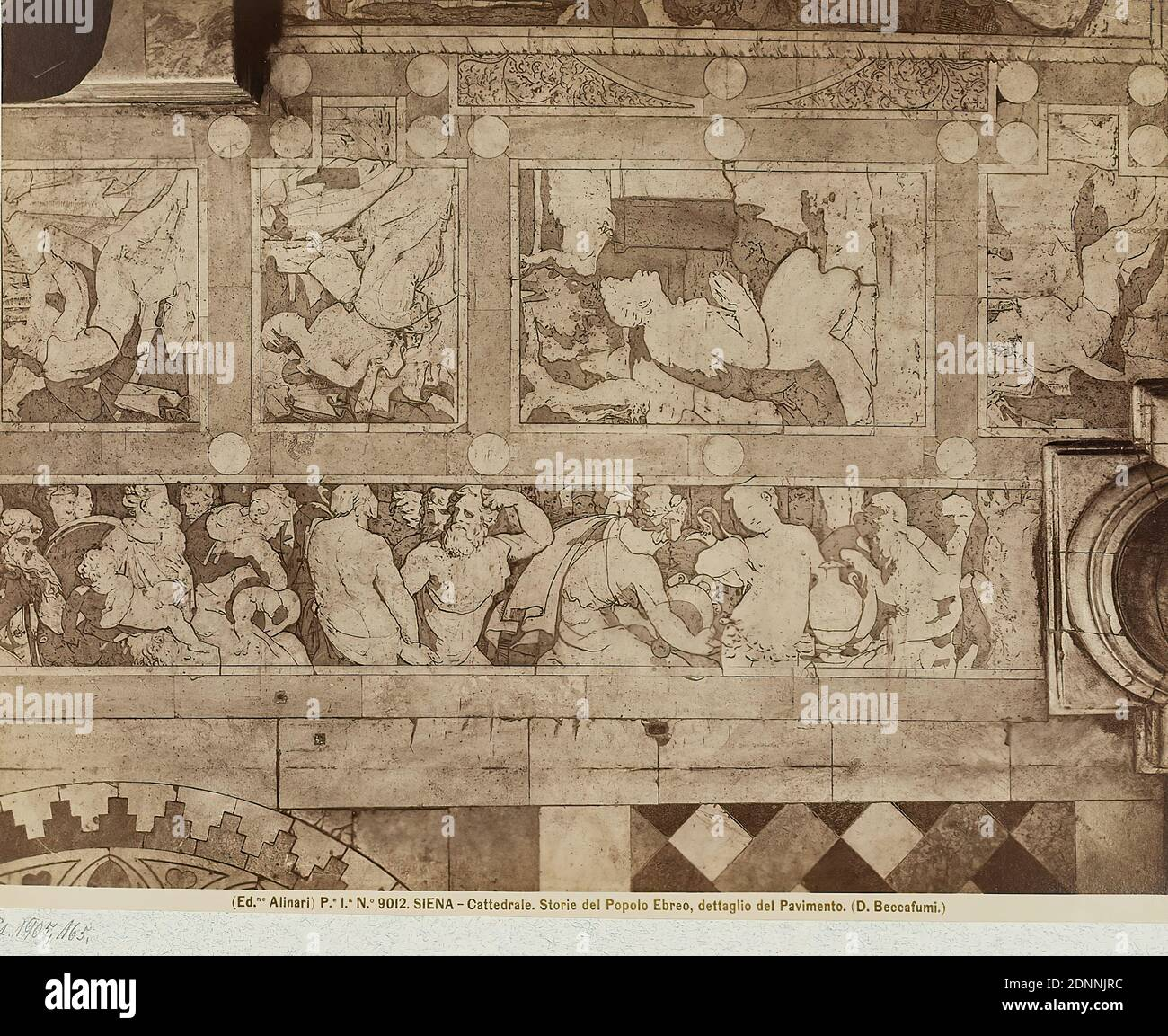 Domenico Beccafumi: Stories of the People of Israel, detail of the floor in the Cathedral of Siena, albumin paper, black and white positive process, image size: height: 19,20 cm; width: 25,00 cm, SIENA - Cattedrale. Storie del Popolo Ebreo, dettaglio del Pavimento. (D. Beccafumi.), Old Testament, floor (architecture), art Stock Photo