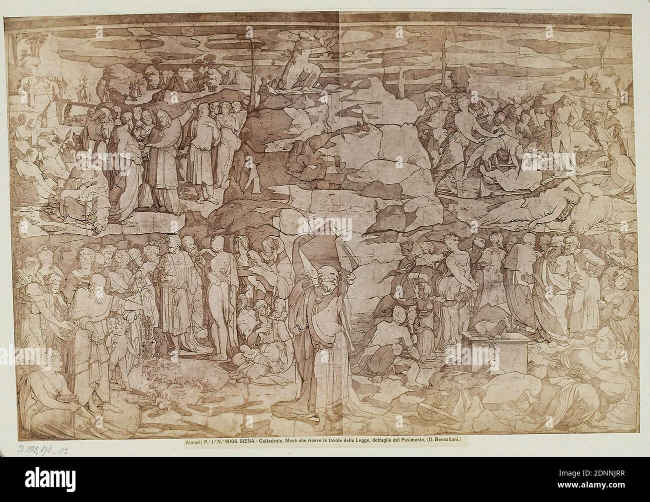 Domenico Beccafumi: Moses receives the law tablets, detail of the floor in the Cathedral of Siena, albumin paper, black and white positive process, image size: height: 24,60 cm; width: 36,80 cm, title copied below the photograph SIENA - Cattedrale. Mosè che riceve le tavole della Legge, dettaglio del Pavimento. (D. Beccafumi.), Moses with the law tablets on Mount Sinai, floor (architecture), art Stock Photo