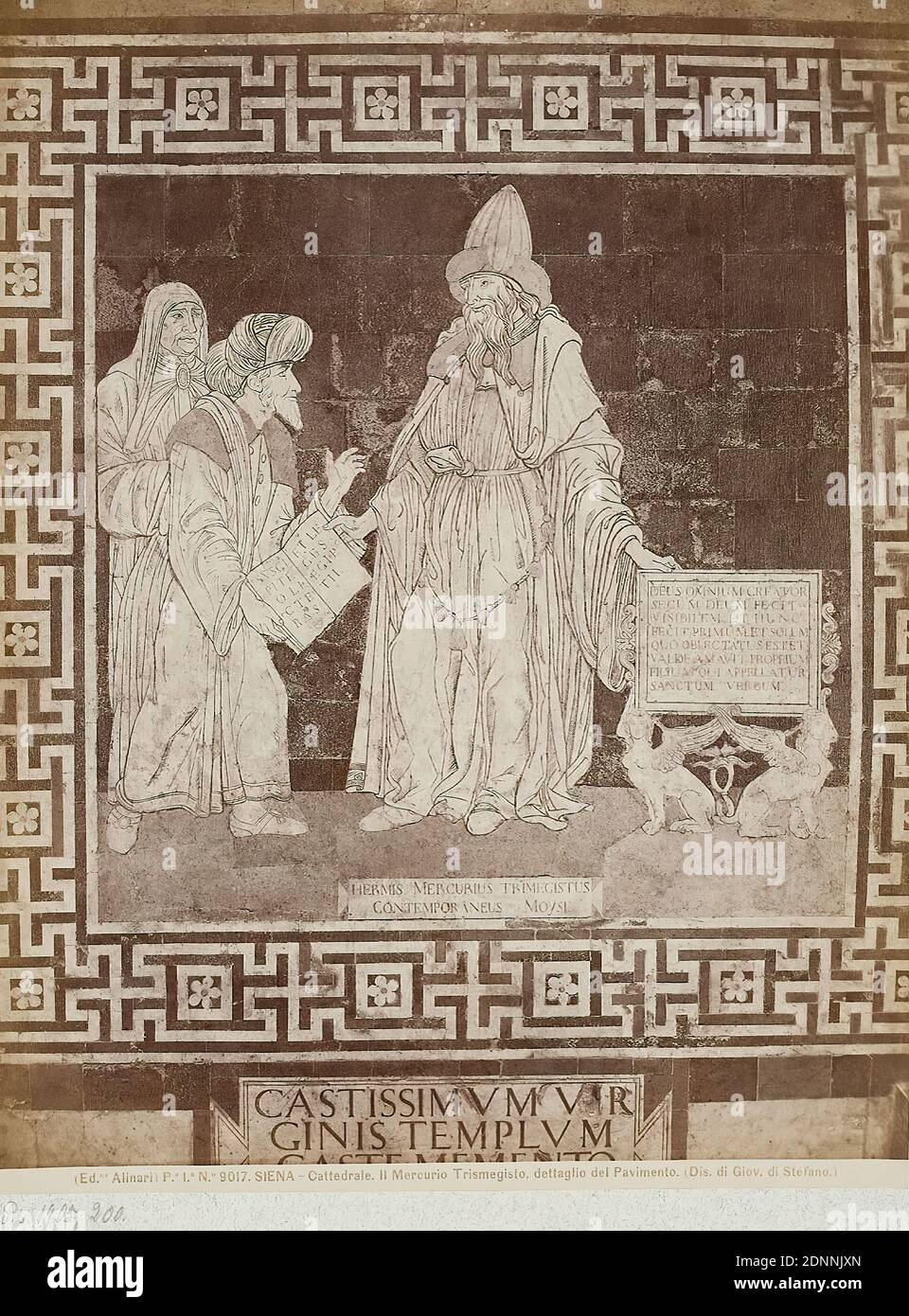 design by Giovanni di Stefano, history of Hermes Trismegistos, detail of the floor in the Cathedral of Siena, albumin paper, black and white positive process, image size: height: 25,40 cm; width: 19,30 cm, SIENA - Cattedrale. Il Mercurio Trismegisto, dettaglio del Pavimento. (Dis. di Giov. di Stefano.) Verso Stamp: MUSEUM F. ART & CRAFT Hamburg, photography, prophets Stock Photo