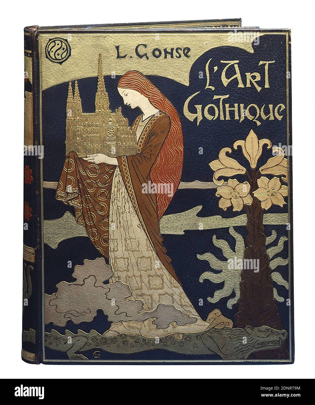René Wiener, Eugène Grasset, L'Art Gothique by Louis Gonse, Acquired at the world exhibition in Paris 1900 by René Wiener, leather, inlaid, total (book cover): height: 40 cm; width: 32 cm, stamp: lower right R W, [diamond-shaped, golden monogram], book decoration, arts and crafts, woman, exterior of a church, plant, animal, architectural model, lily, mythical creature, monster, legendary figures, art nouveau, From the versatile Eugène Grasset comes the design drawing for this unique book cover. Grasset was Swiss, was later naturalized in France and taught in Paris for many years. Stock Photo