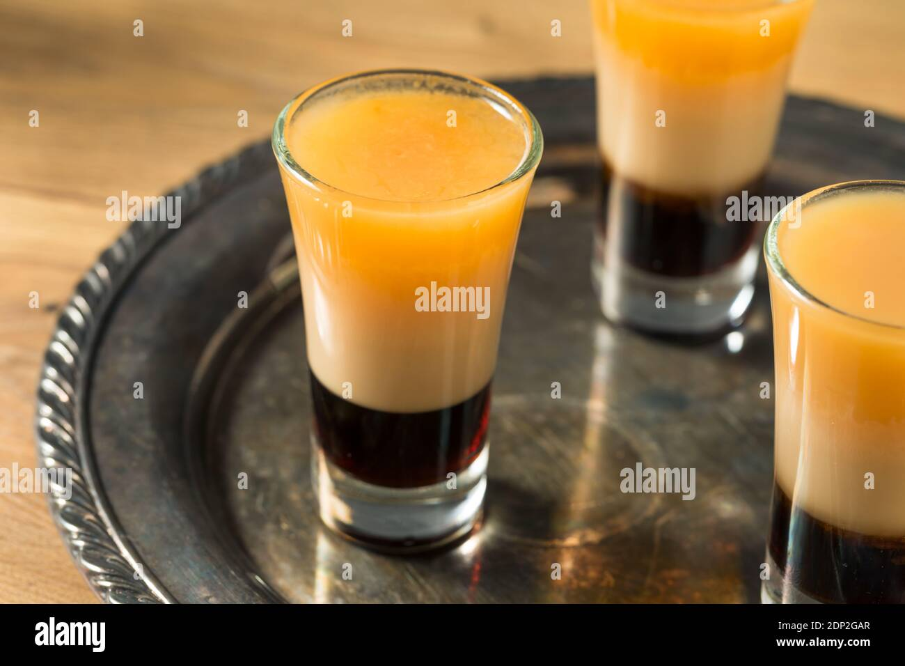 Boozy Layered B52 Shot Cocktail Ready to Drink Stock Photo