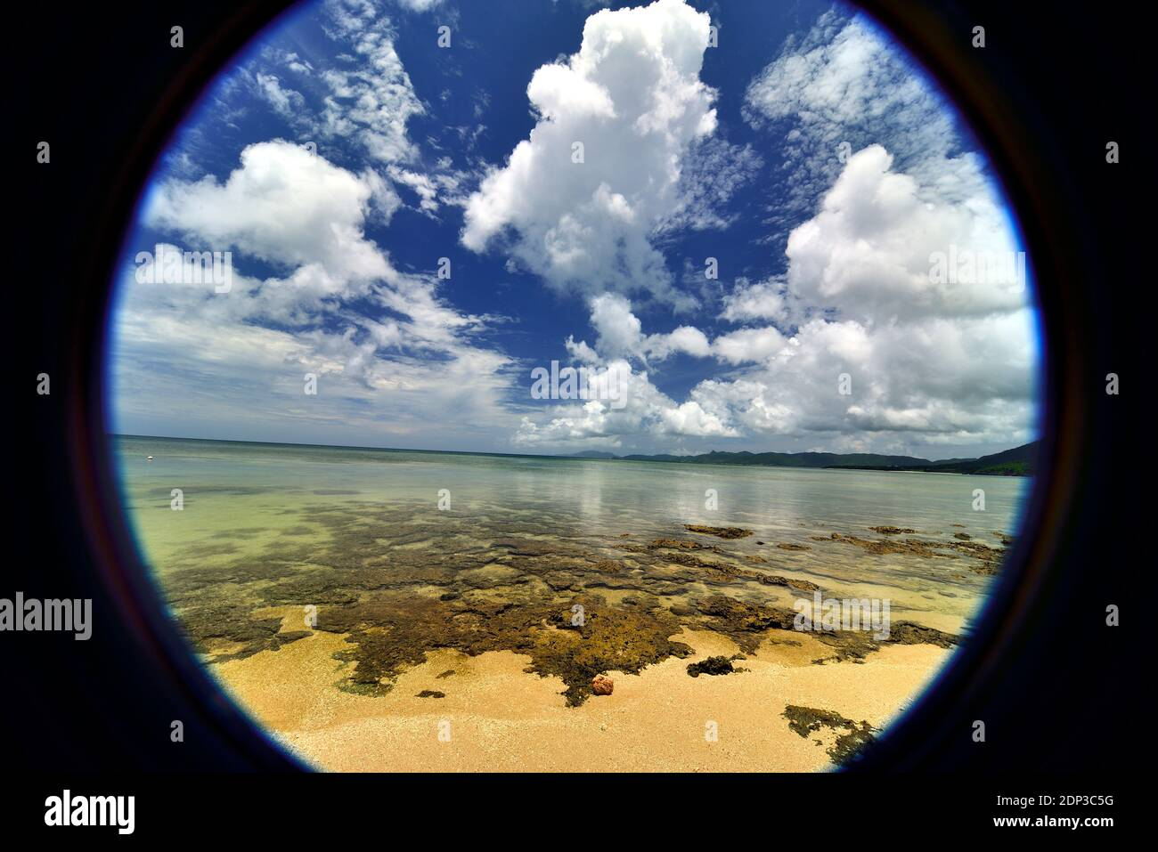 Yonehara Beach, Low Tide,  Empty, Fishe Eye View, Ishigaki, Yahema Islands, Ryukyu Islands, Okinawa, Japan Stock Photo