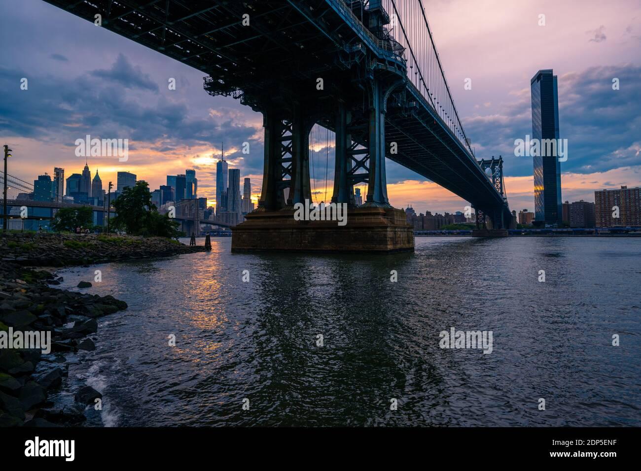 View on Lower Manhattan, Brooklyn Bridge and Manhattan Bridge from the DUMBO Brooklyn, NY Stock Photo