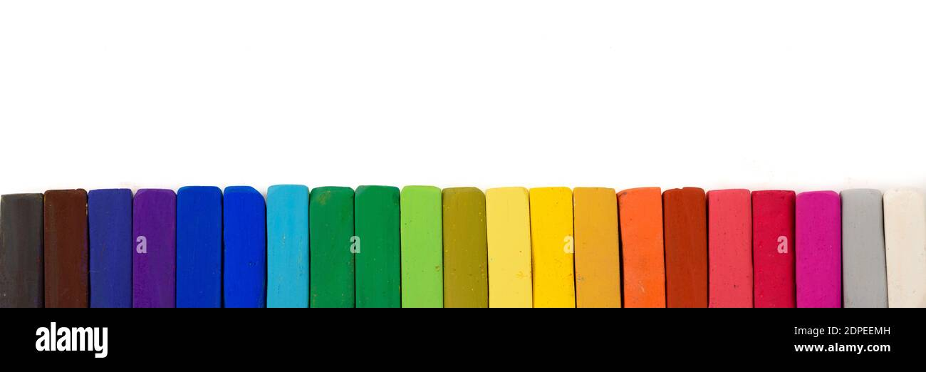 Chalk pastel different colors isolated on white background Stock Photo