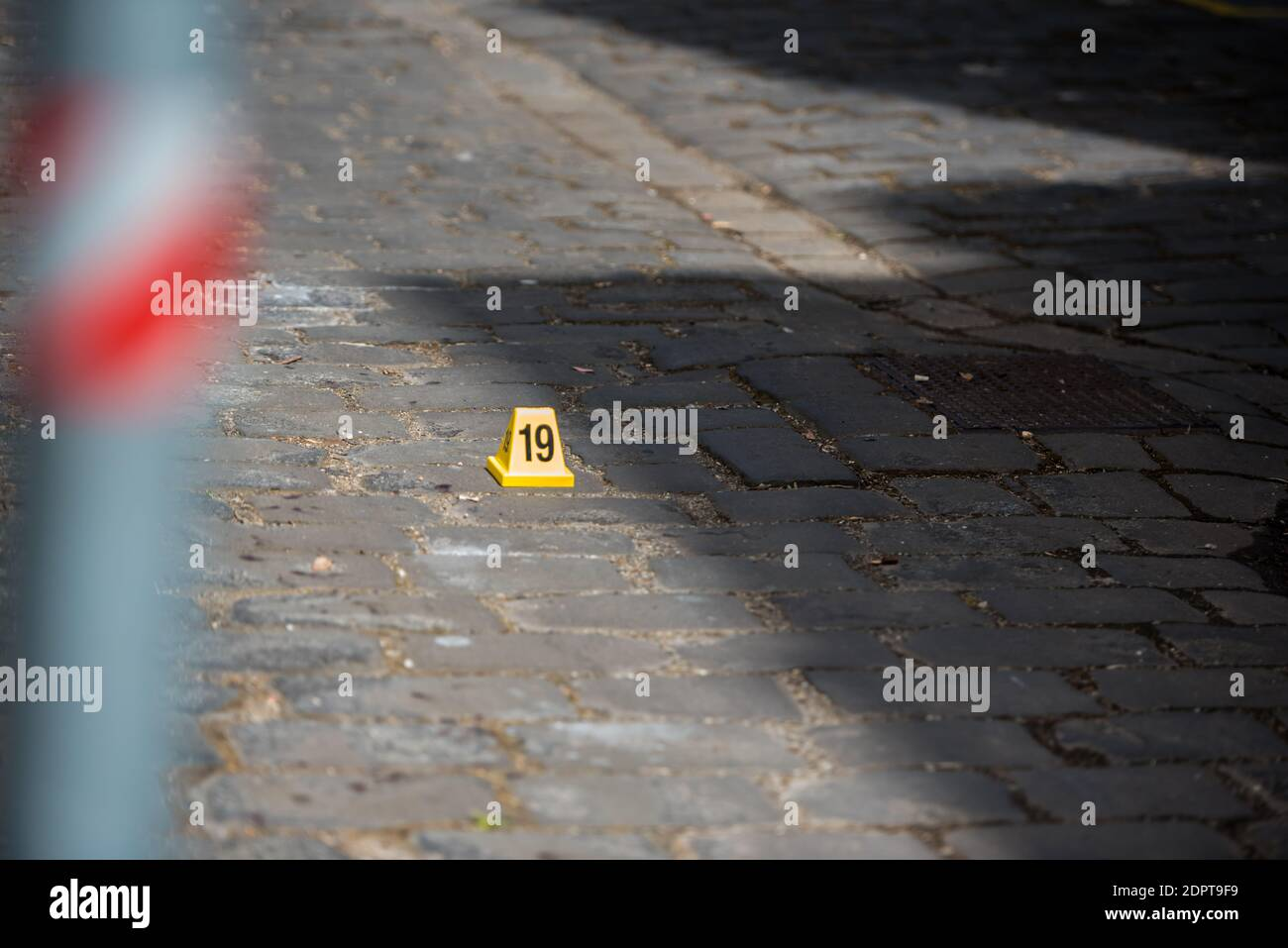 """Melbourne, Australia. 19th Dec, 2020. Blood marks left on brick road in an alley way near famous night spot.A man was found with severe injuries on his hands and after a police investigation it was found to be a """"medical incident"""" where the injuries were self-inflicted police reports. Credit: SOPA Images Limited/Alamy Live News Stock Photo"""
