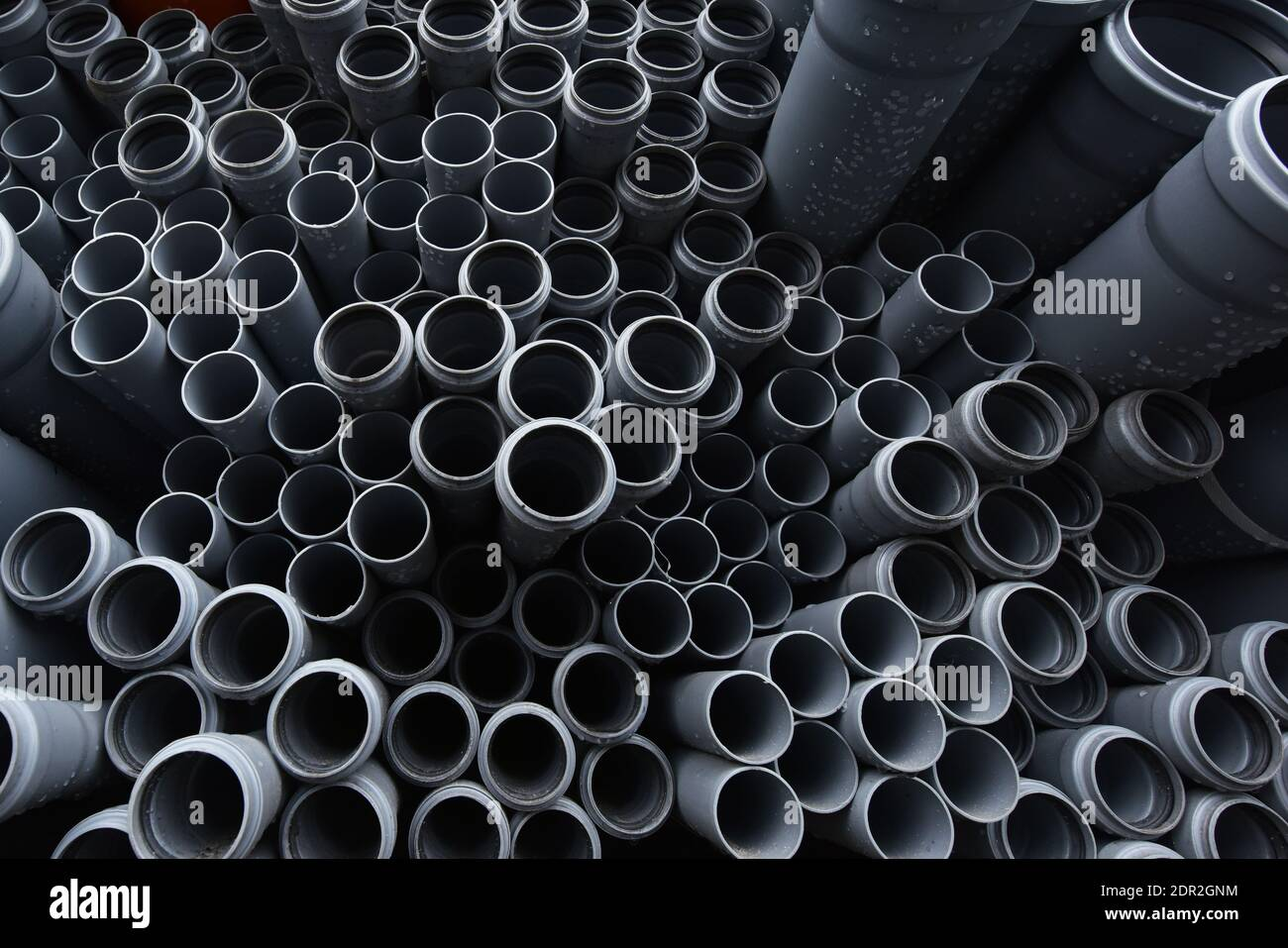New gray plastic pipes for the sewage system. Stock Photo