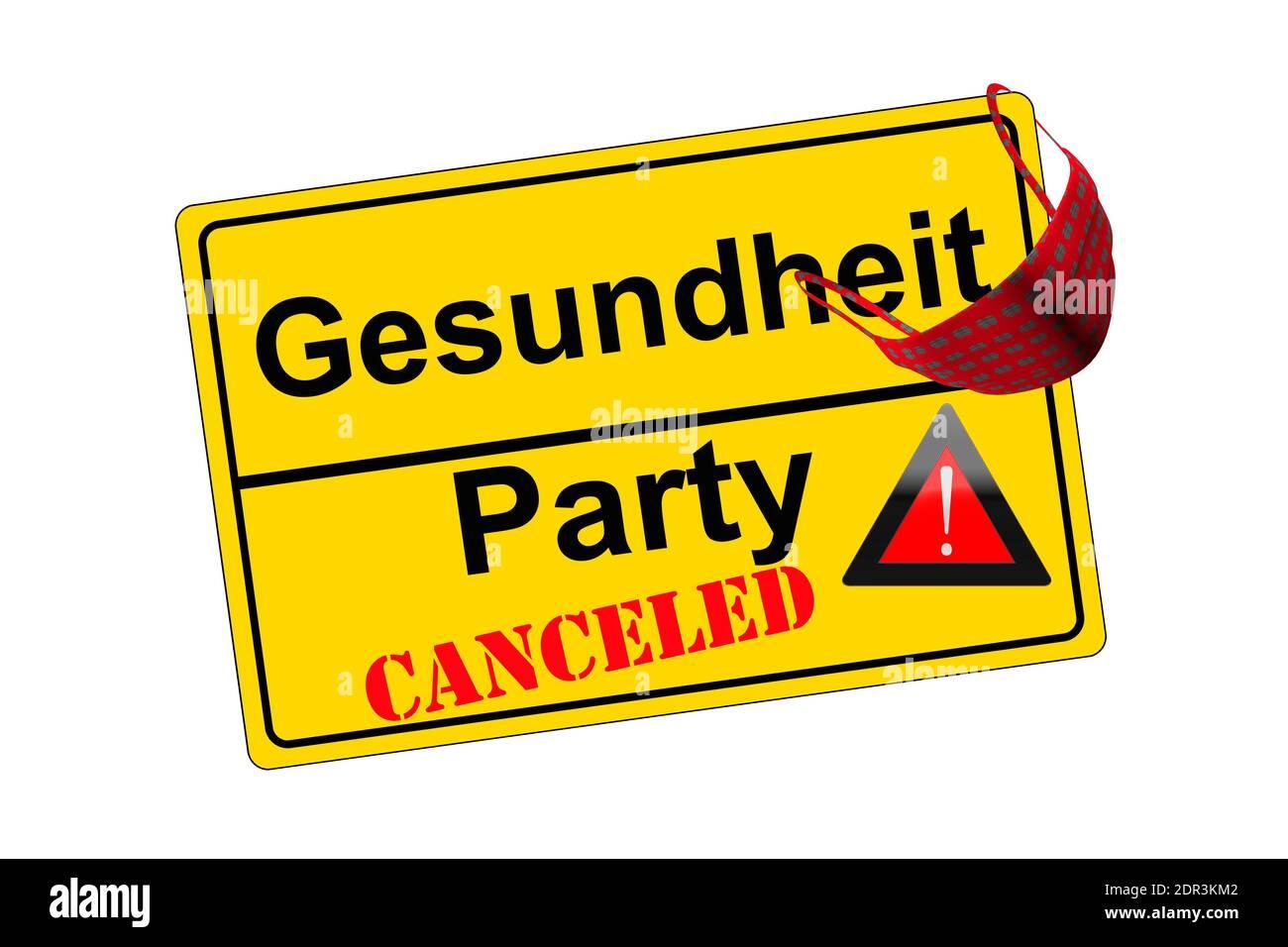 Ortschild isoliert auf weiß Party canceled kontra Gesundheit Stock Photo