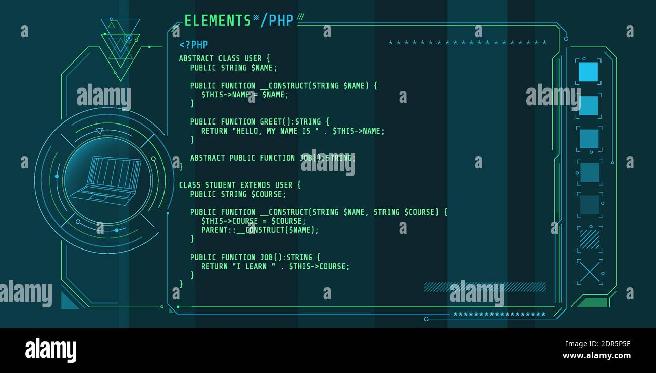 Hud Interface Elements With Part Of The Code Php Stock Vector Image Art Alamy