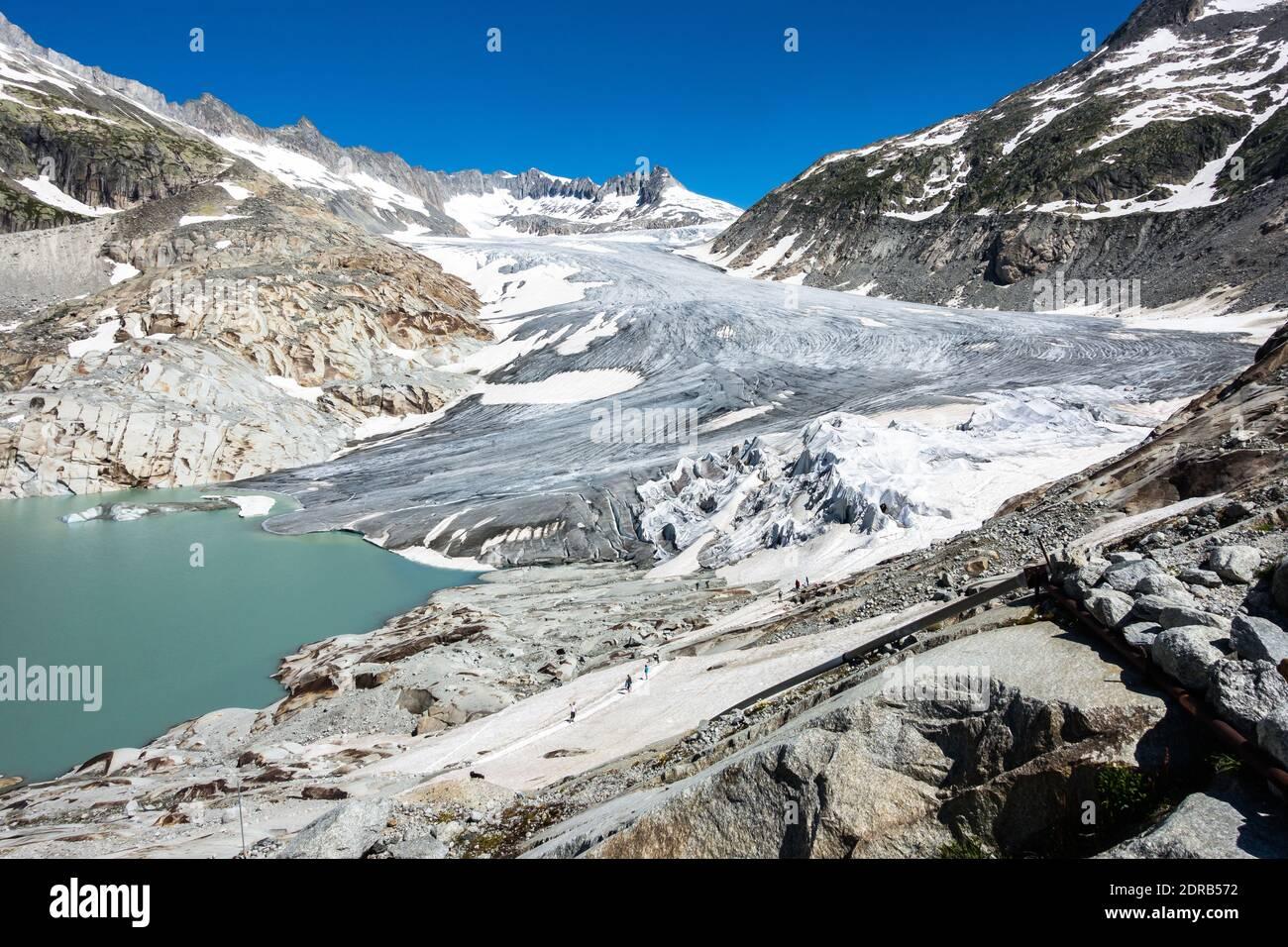 Landscape of Rhone Glacier, the source of Rhone River, Valais, Switzerland Stock Photo