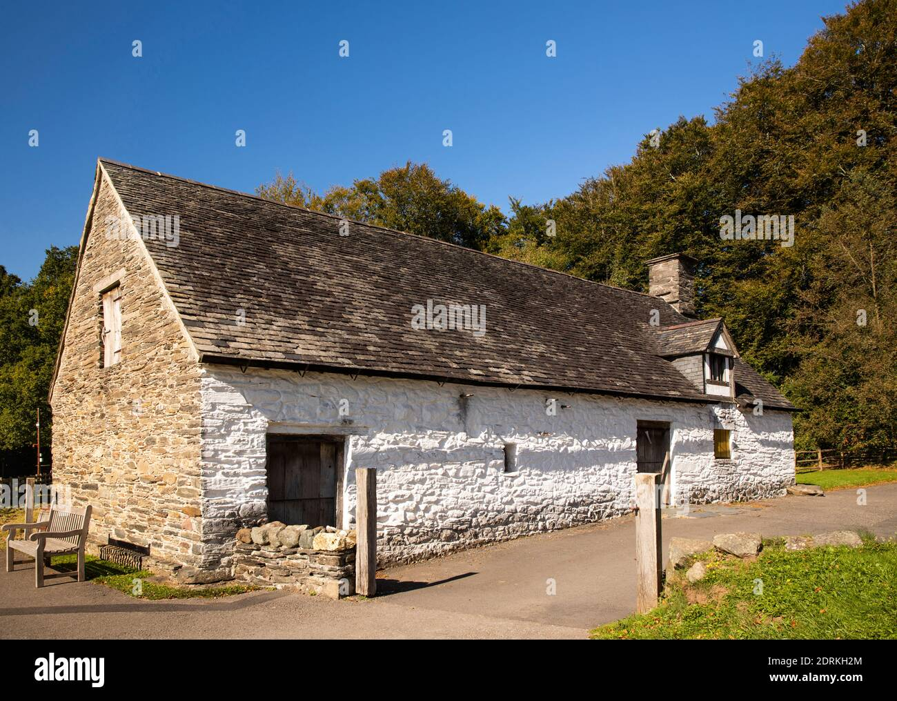 UK, Wales, Cardiff, St Fagans, National Museum of History, 1400s Cilewent Farmhouse from Dyffryn Claerwen, Radnorshire Stock Photo