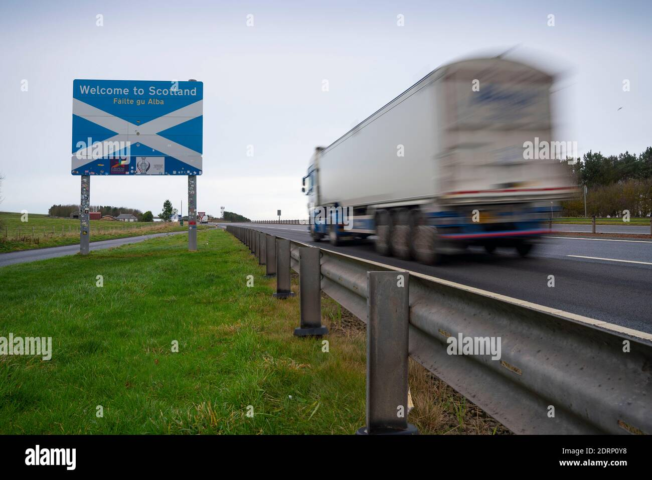 Lamberton, Scotland, UK. 21 December 2020.  Border between Scotland and England on the A1 north of Berwick upon Tweed very quiet  with few motorists, however frequent police patrols are evident. Iain Masterton/Alamy Live News Stock Photo