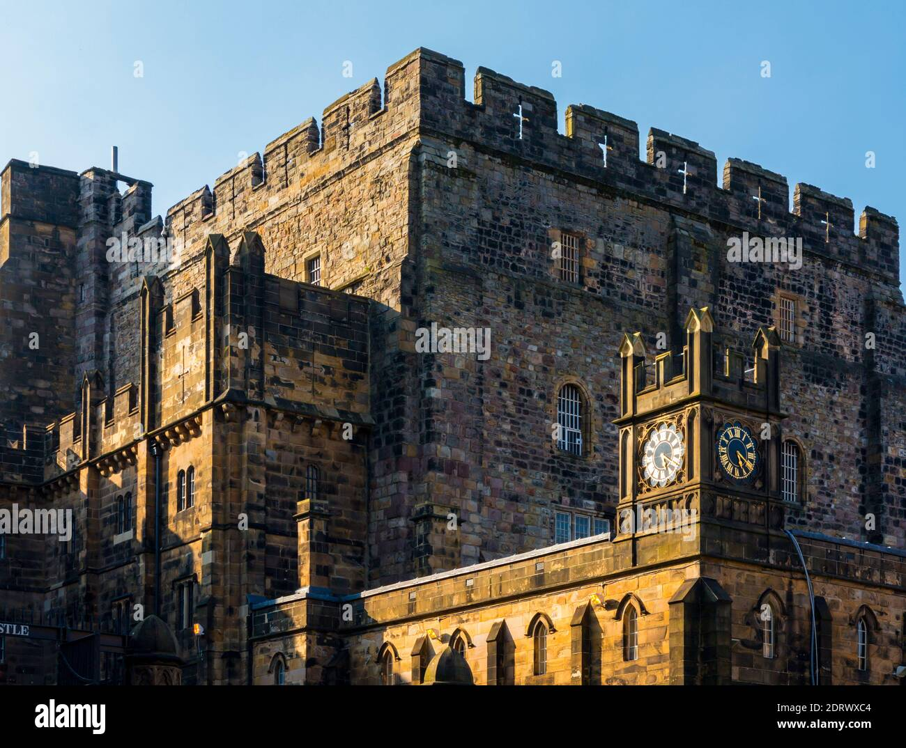 The medieval Keep and clock tower at Lancaster Castle in the City of Lancashire England UK Stock Photo