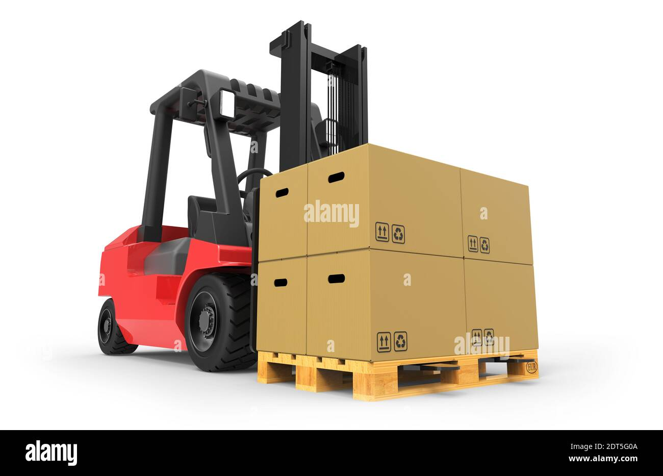 Forklift truck with boxes on pallet 3D rendering Stock Photo