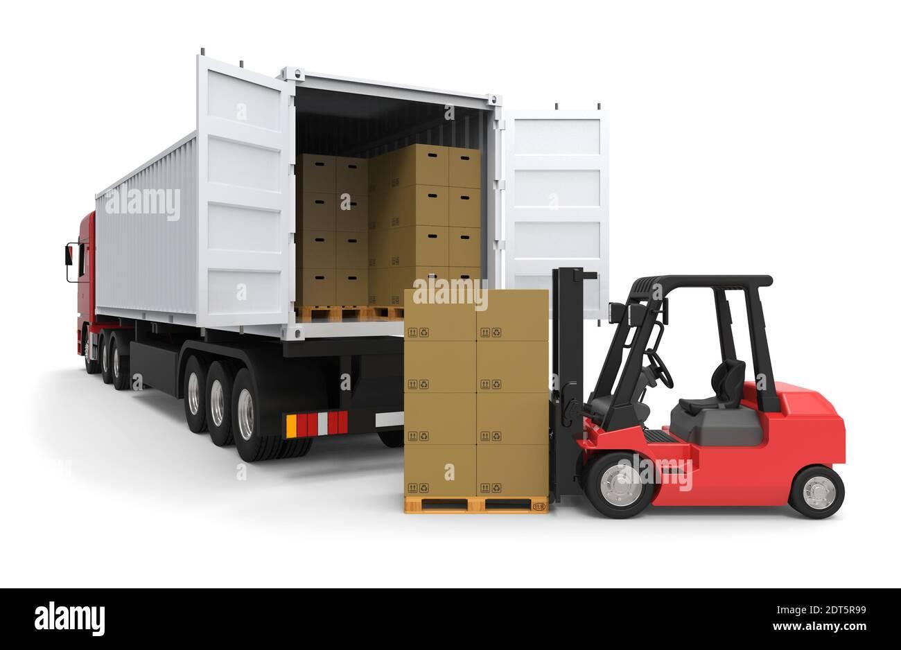 Forklift truck loading a long truck on white background 3D rendering Stock Photo