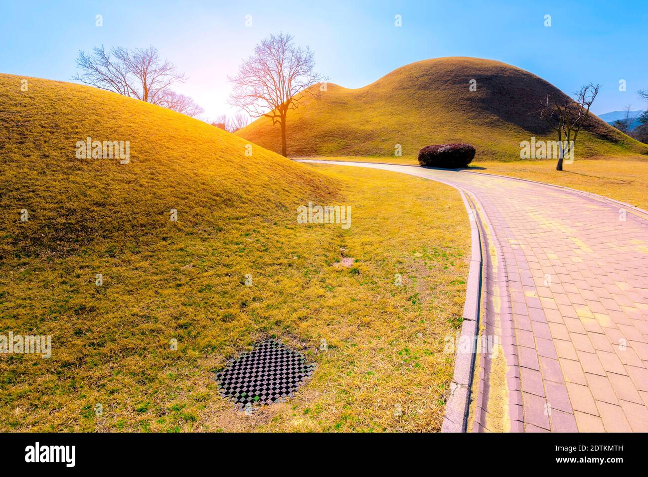 The Royal Tombs of Shila,Tumuli in Kyeongju,South Korea Stock Photo
