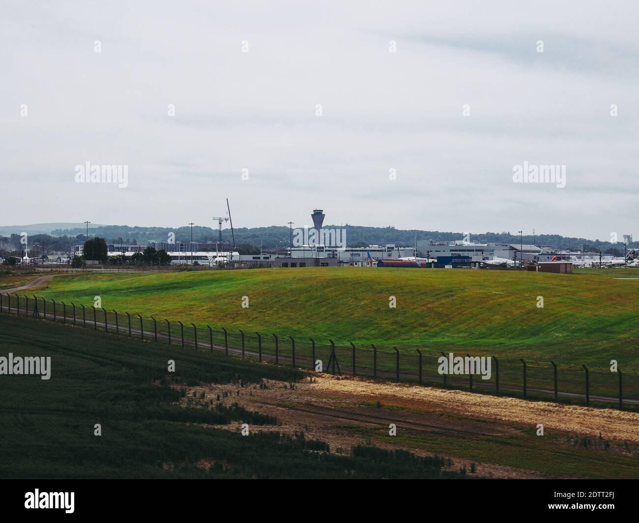 EDINBURGH, UK - CIRCA JUNE 2018: Edinburgh Airport runway Stock Photo
