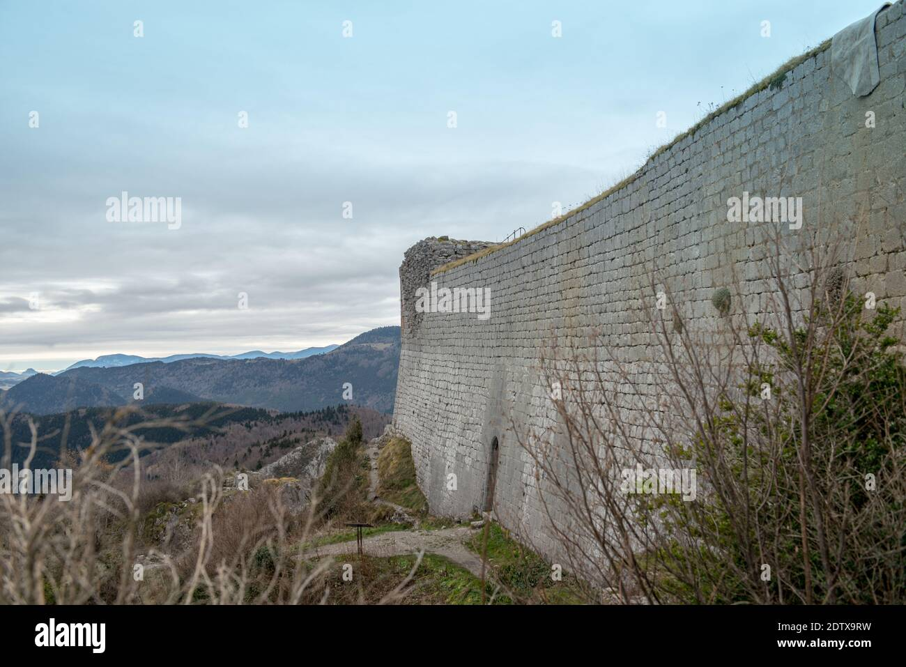 Cathar castle of Montsegur in Ariege, Occitanie in south of France. Stock Photo