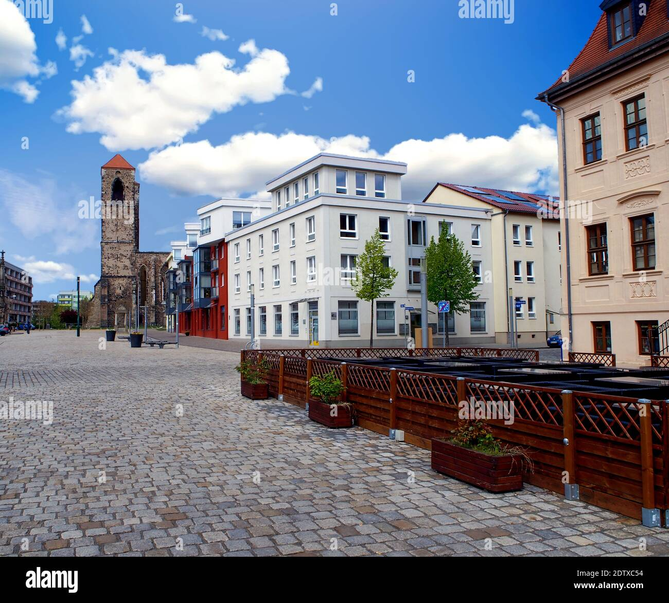 Market square and the St. Nicolai Church in Zerbst - Saxony - Anhalt, Germany Stock Photo