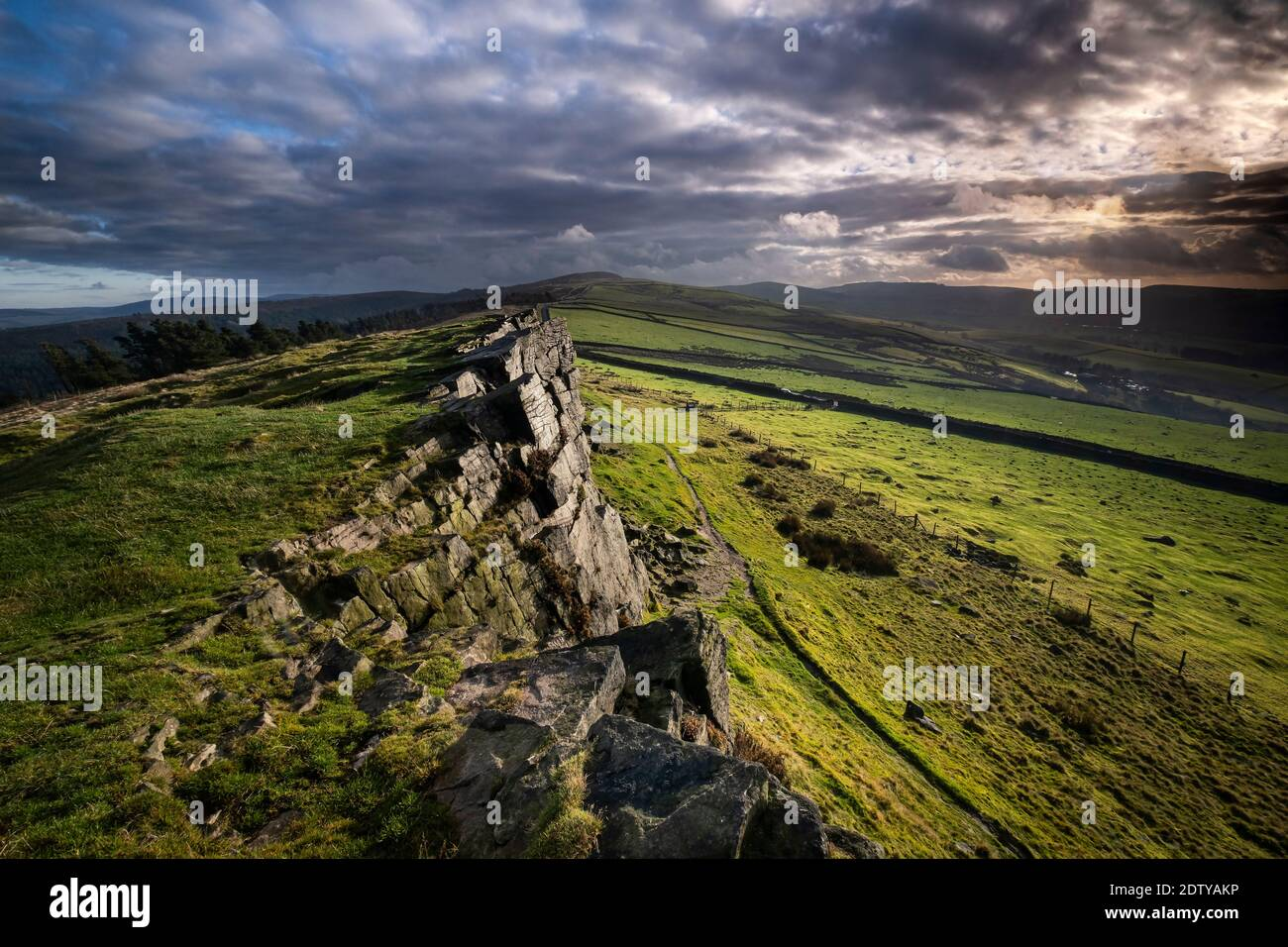 Windgather Rocks, Cheshire and Derbyshire Border, Peak District National Park, England, UK Stock Photo