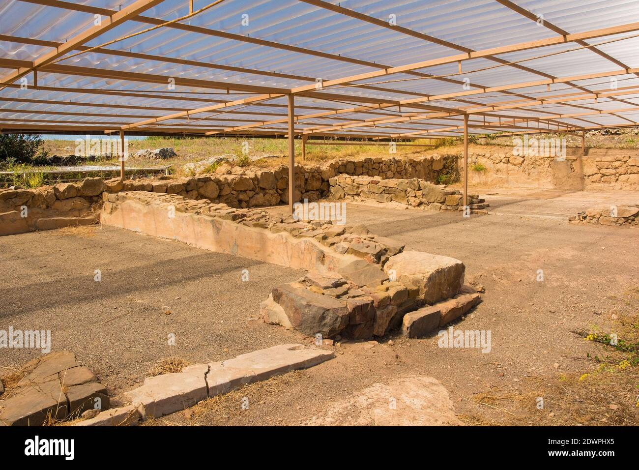 Grosseto, Italy - September 4th 2020. The ruins of the Hellenistic House in Roselle or Rusellae, an ancient Etruscan and Roman city in Tuscany. Stock Photo