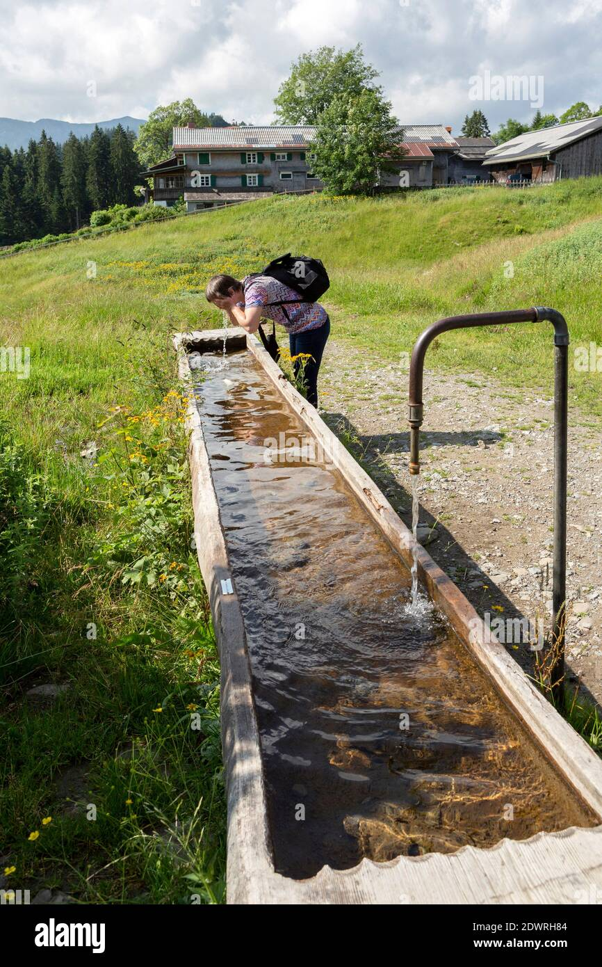 Brunnen, Wassertrog, Quellwasser im Bregenzerwald, Vorarlberg Stock Photo