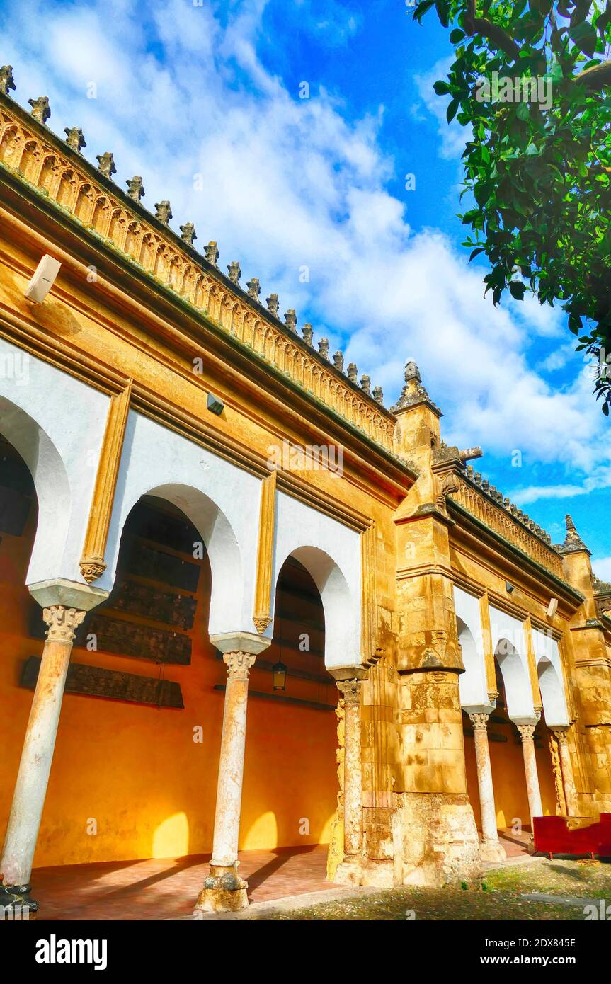 Collonaded arcade of the interior courtyard of the Mosque  Cathedral of Cordoba, Andalucia, Spain Stock Photo