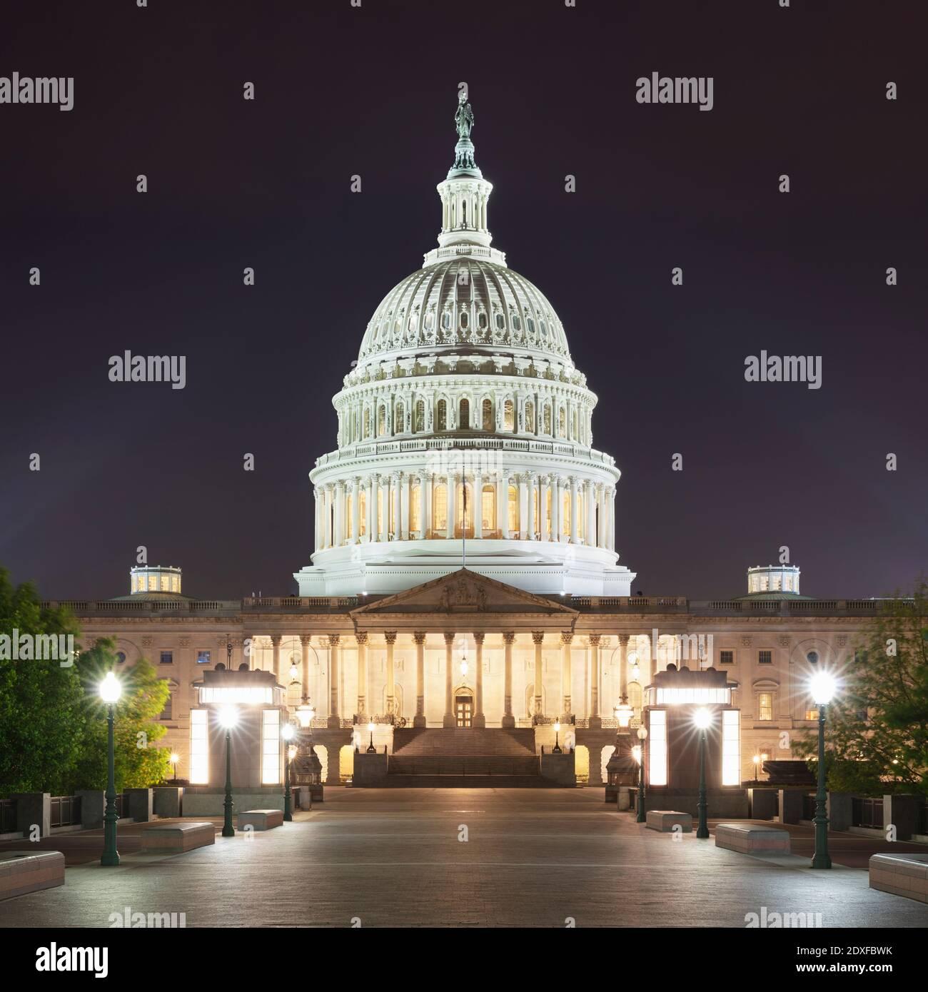 USA, Washington DC, Facade of United States Capitol at night Stock Photo