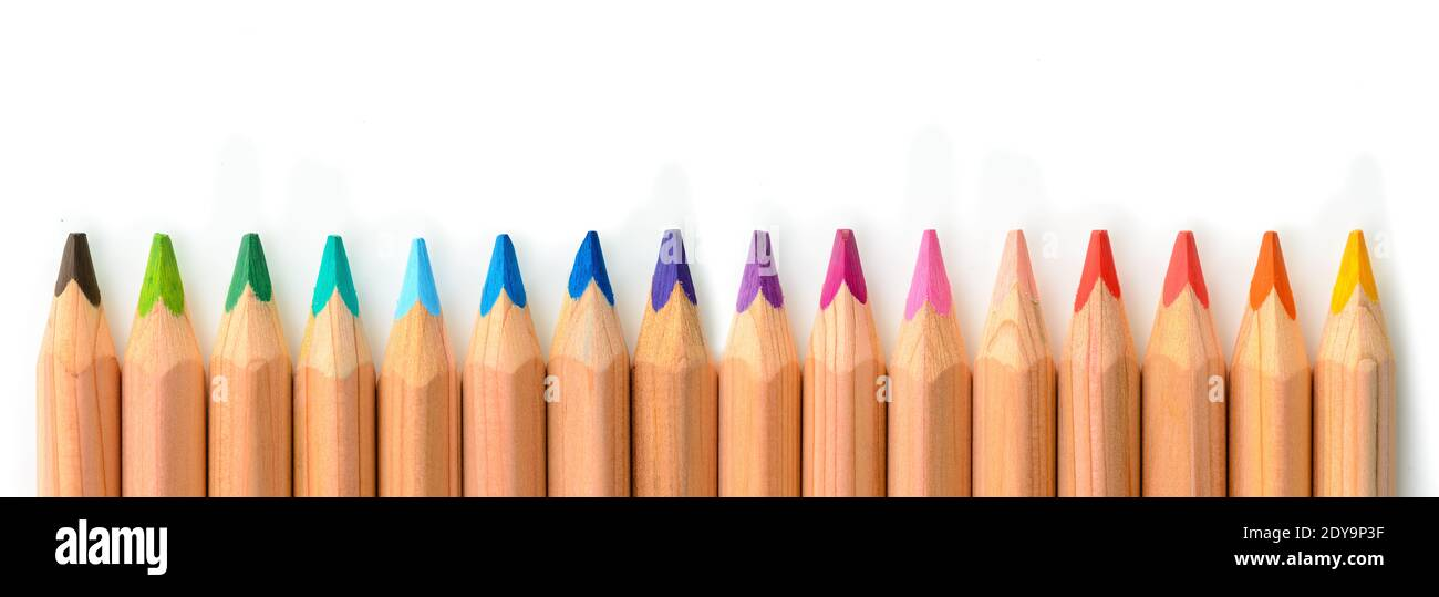 Different coloful pencil isolated on white background Stock Photo