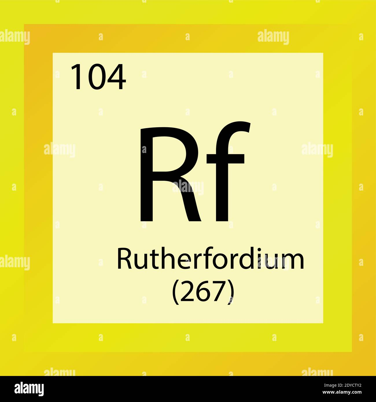 Rutherfordium Chemical Element Periodic Table. Single element vector illustration, transition metals element icon with molar mass and atomic number. Stock Vector