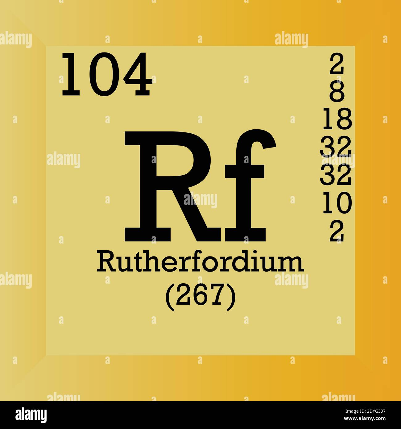Rf Rutherfordium Chemical Element Periodic Table. Single vector illustration, element icon with molar mass, atomic number and electron conf. Stock Vector