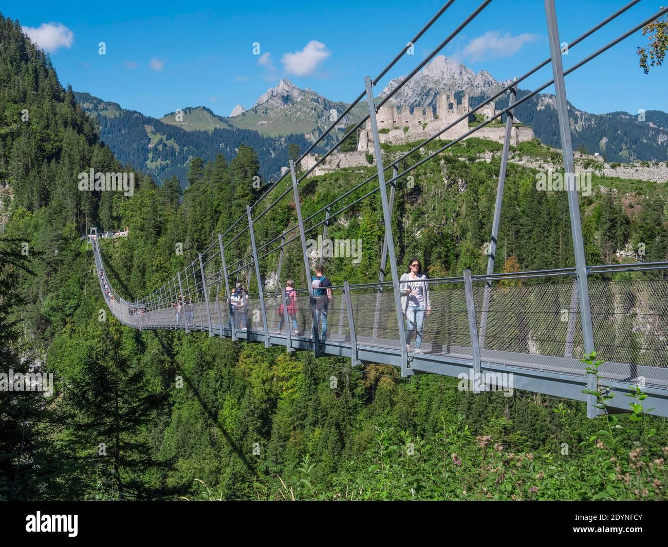 Pedestrian suspension bridge highline20, Reutte, Tyrol, Austria ...