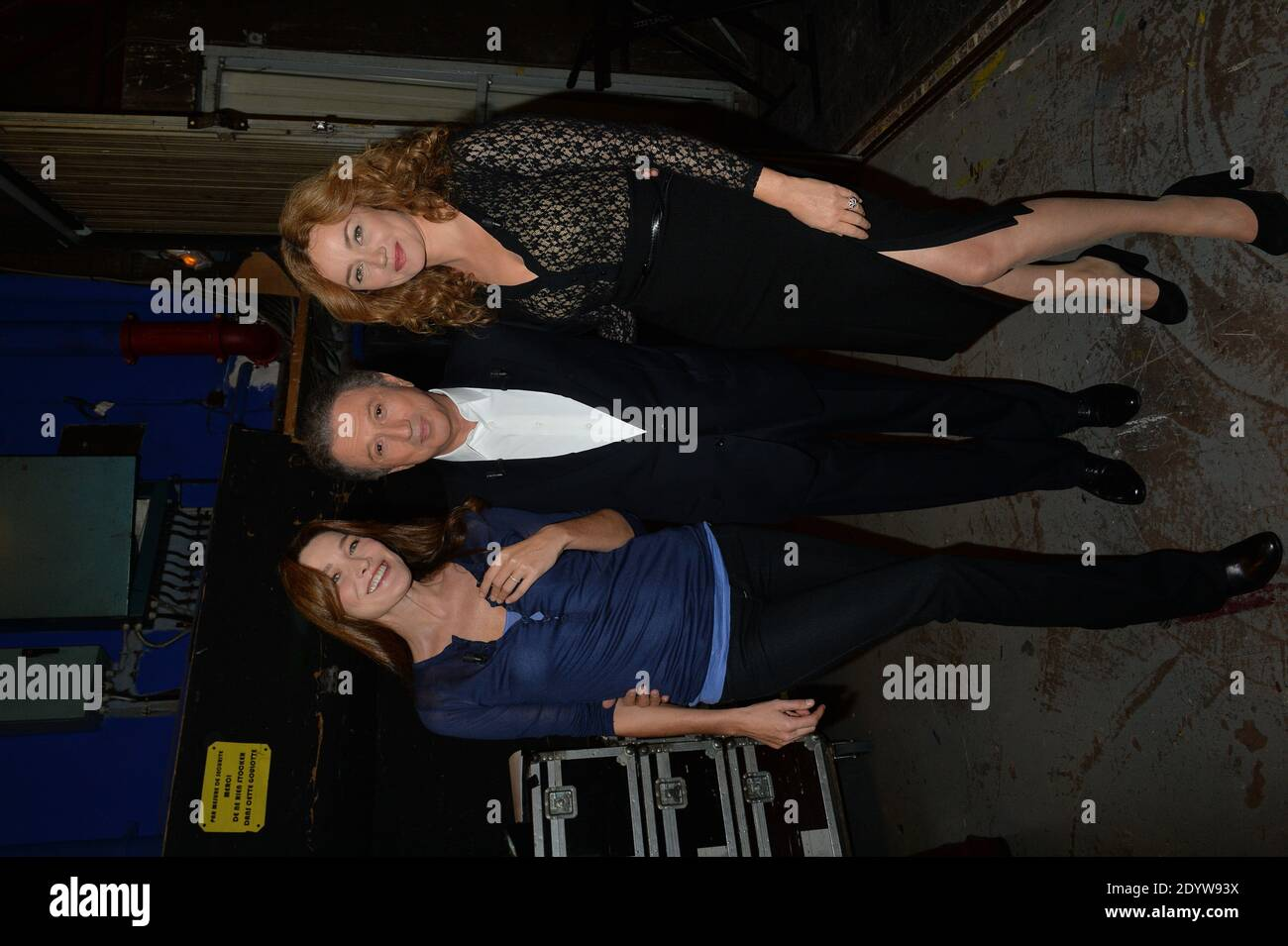 Carla Bruni-Sarkozy, Michel Drucker and Marine Delterme at the taping of Vivement Dimanche on September 23, 2013 in Paris, France. Photo by Max Colin/ABACAPRESS.COM Stock Photo