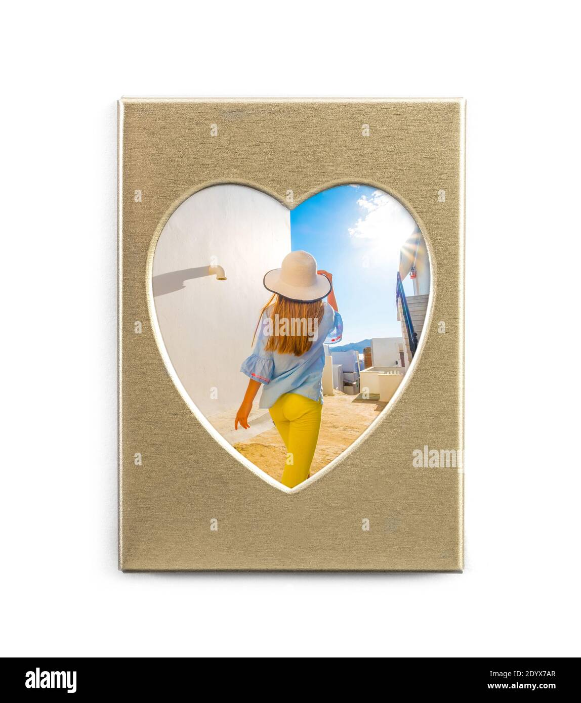 Cute summer photo in golden frame in shape of heart isolated on white background Stock Photo