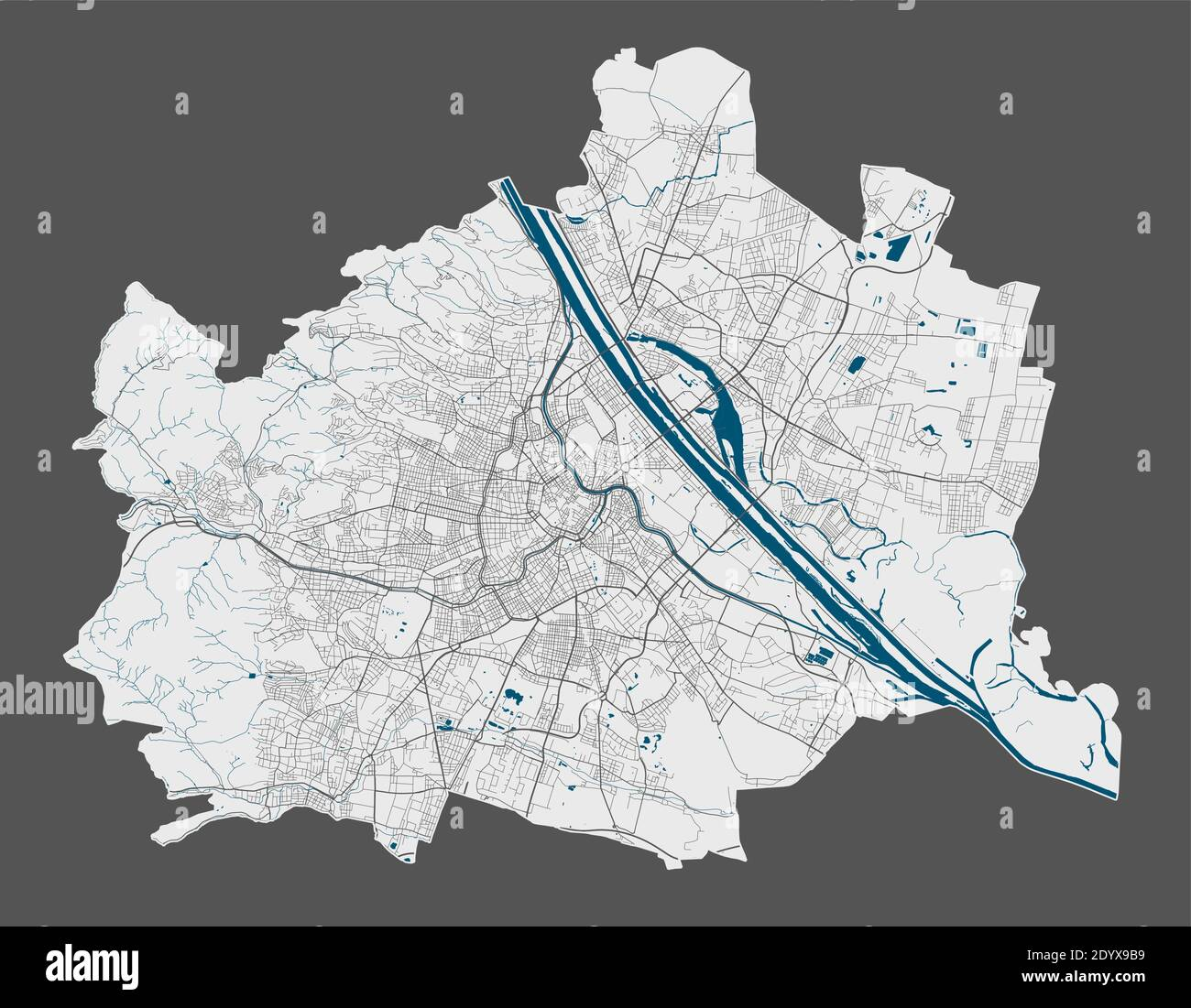 Vienna map. Detailed vector map of Vienna city administrative area. Poster with streets and water on grey background. Stock Vector