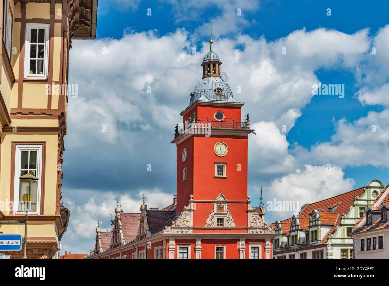 The Old Town Hall is located on the main market square in Gotha, Thuringia, Germany, Europe Stock Photo