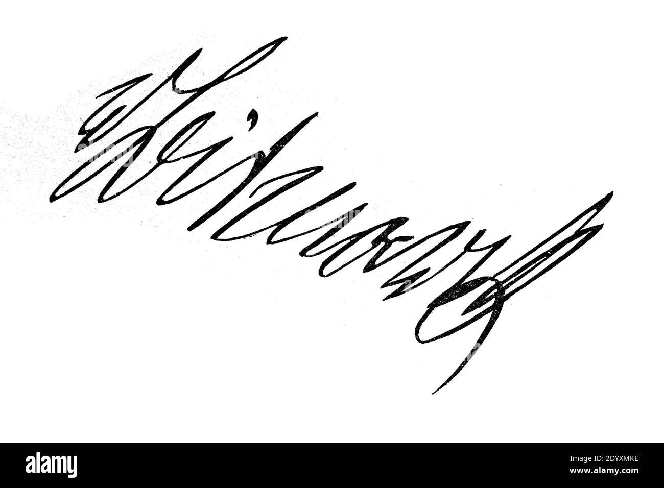 Signature, handwriting of von Bismarck  /  Unterschrift, Handschrift von Fürst von Bismarck, Historisch, historical, digital improved reproduction of an original from the 19th century / digitale Reproduktion einer Originalvorlage aus dem 19. Jahrhundert, Stock Photo