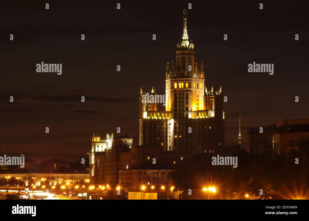 July 30, 2011, Moscow, Russia. Evening illumination at a Stalinist skyscraper on Kotelnicheskaya embankment in Moscow. Stock Photo
