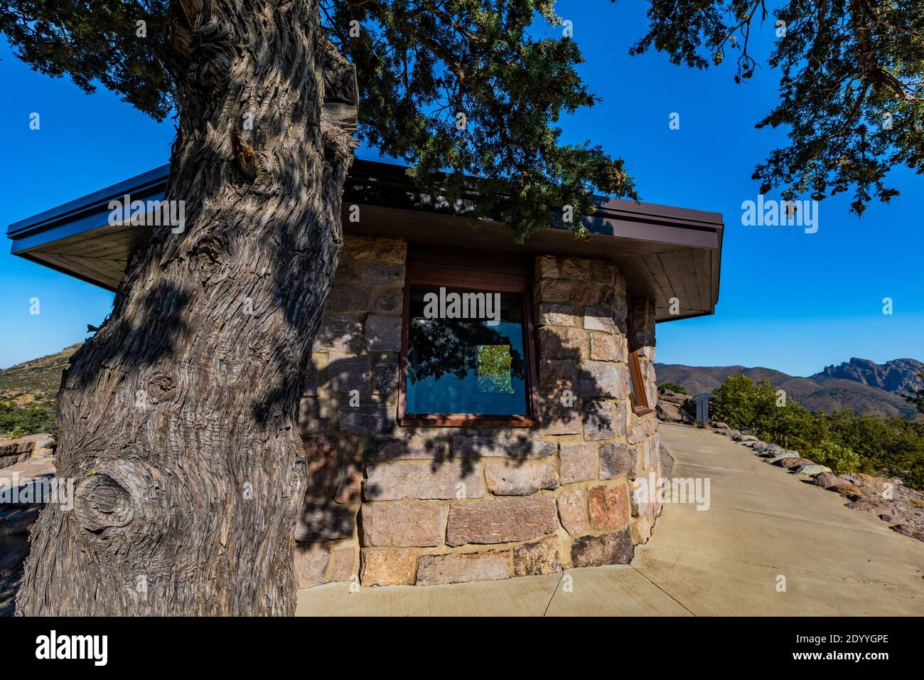 Observation tower built by the CCC at Massai Point in Chiricahua National Monument, Arizona, USA Stock Photo