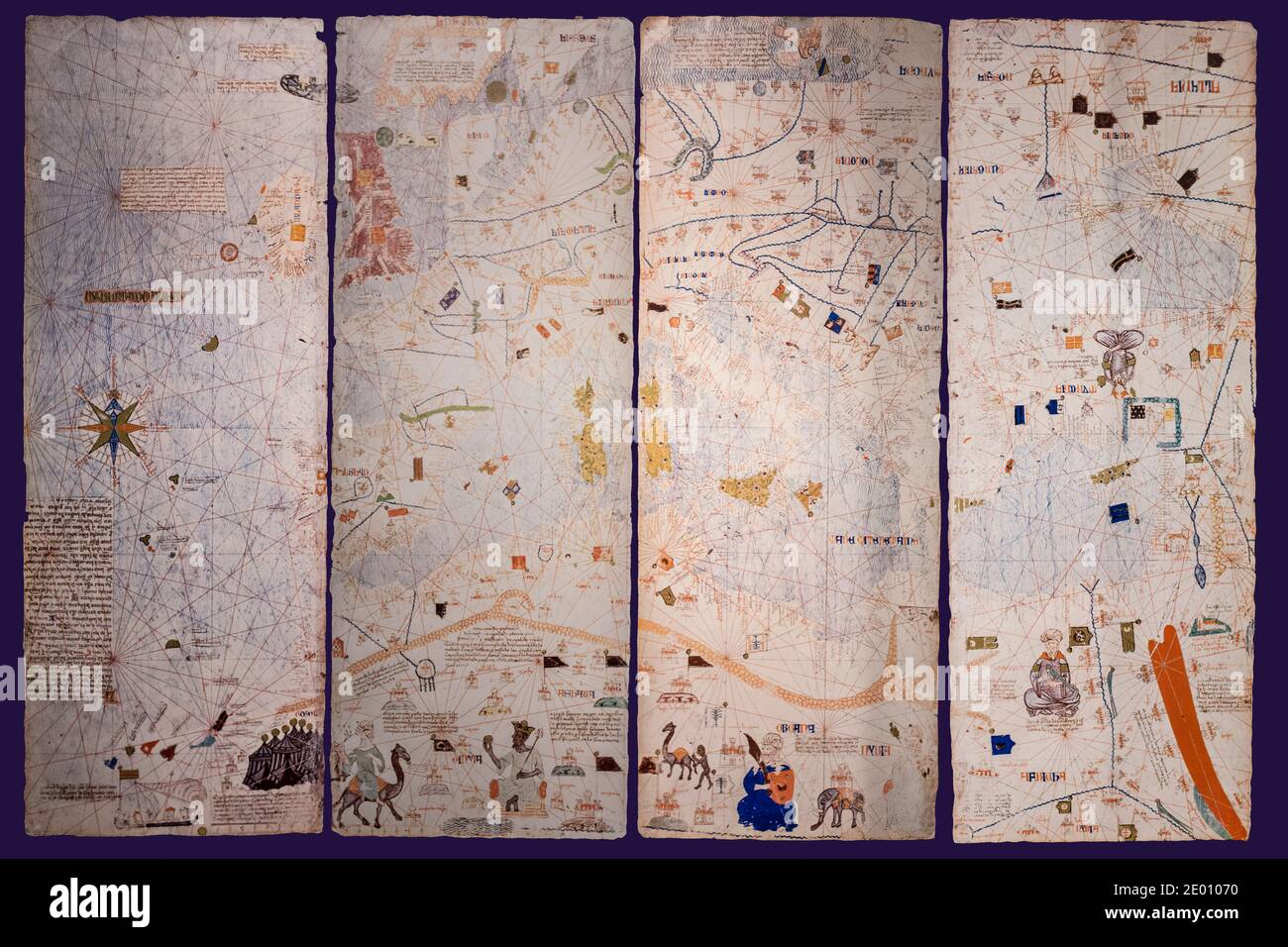 Valladolid, Spain - July 18th, 2020: Catalan Atlas, Medieval world map created in 1375. Reproduction at House Museum of Columbus,  Valladolid, Spain Stock Photo