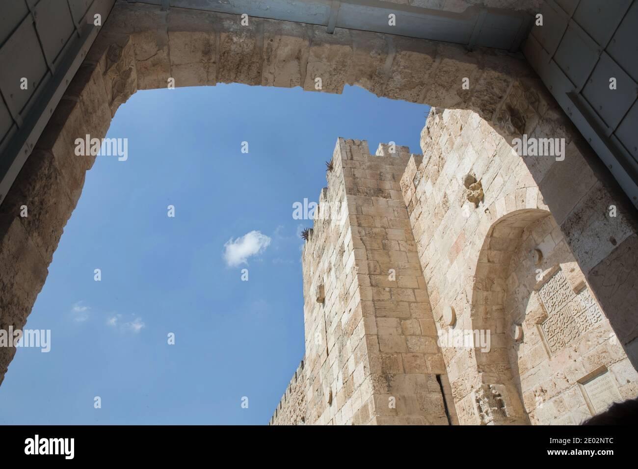 Jaffa Gate A major entrance to the Old City of Jerusalem Stock Photo