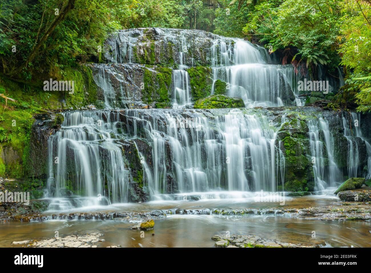 Purakaunui Falls at the Catlins region of New Zealand Stock Photo