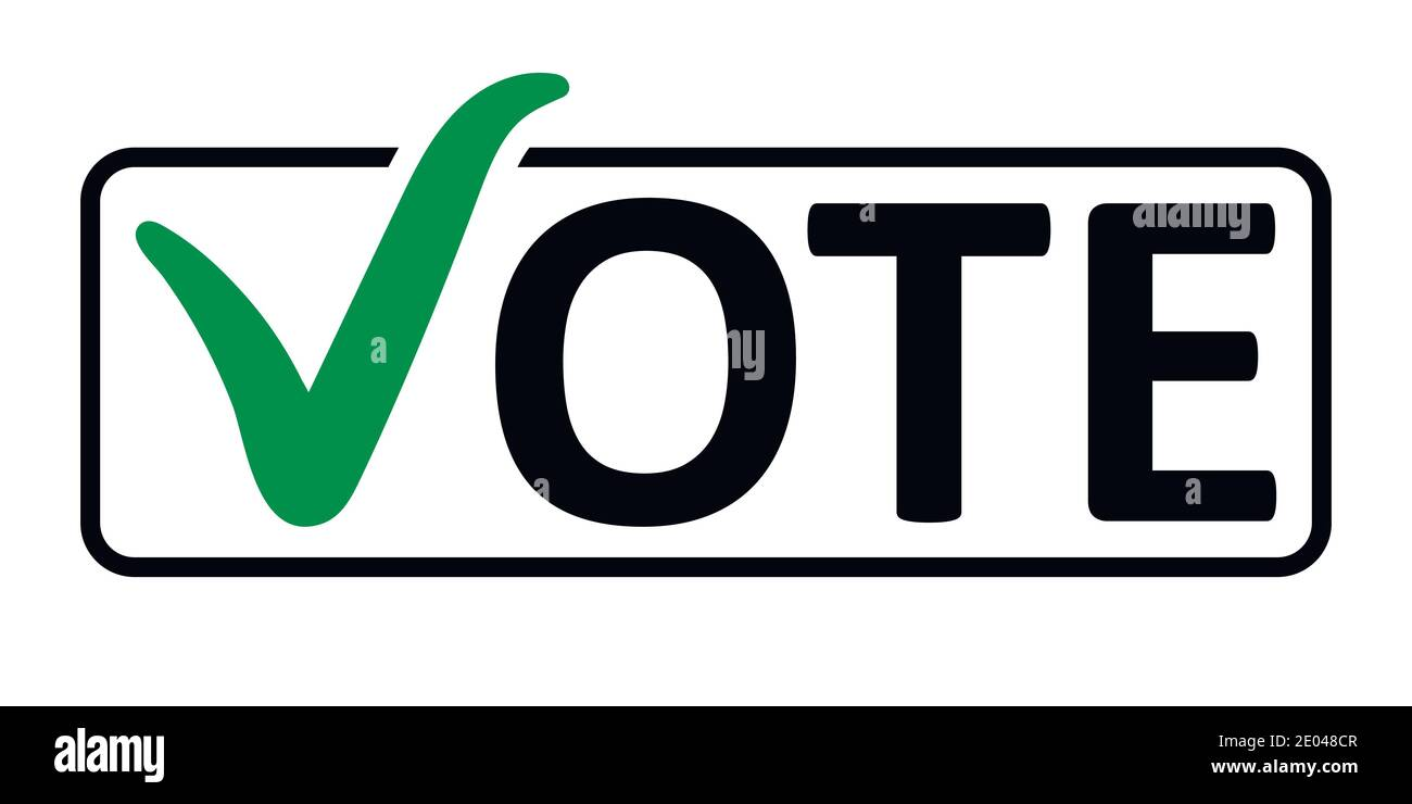 word Vote with a green checkmark instead of the letter V in the box frame, vector the concept of elections the referendum the electorate, vote in a bo Stock Vector