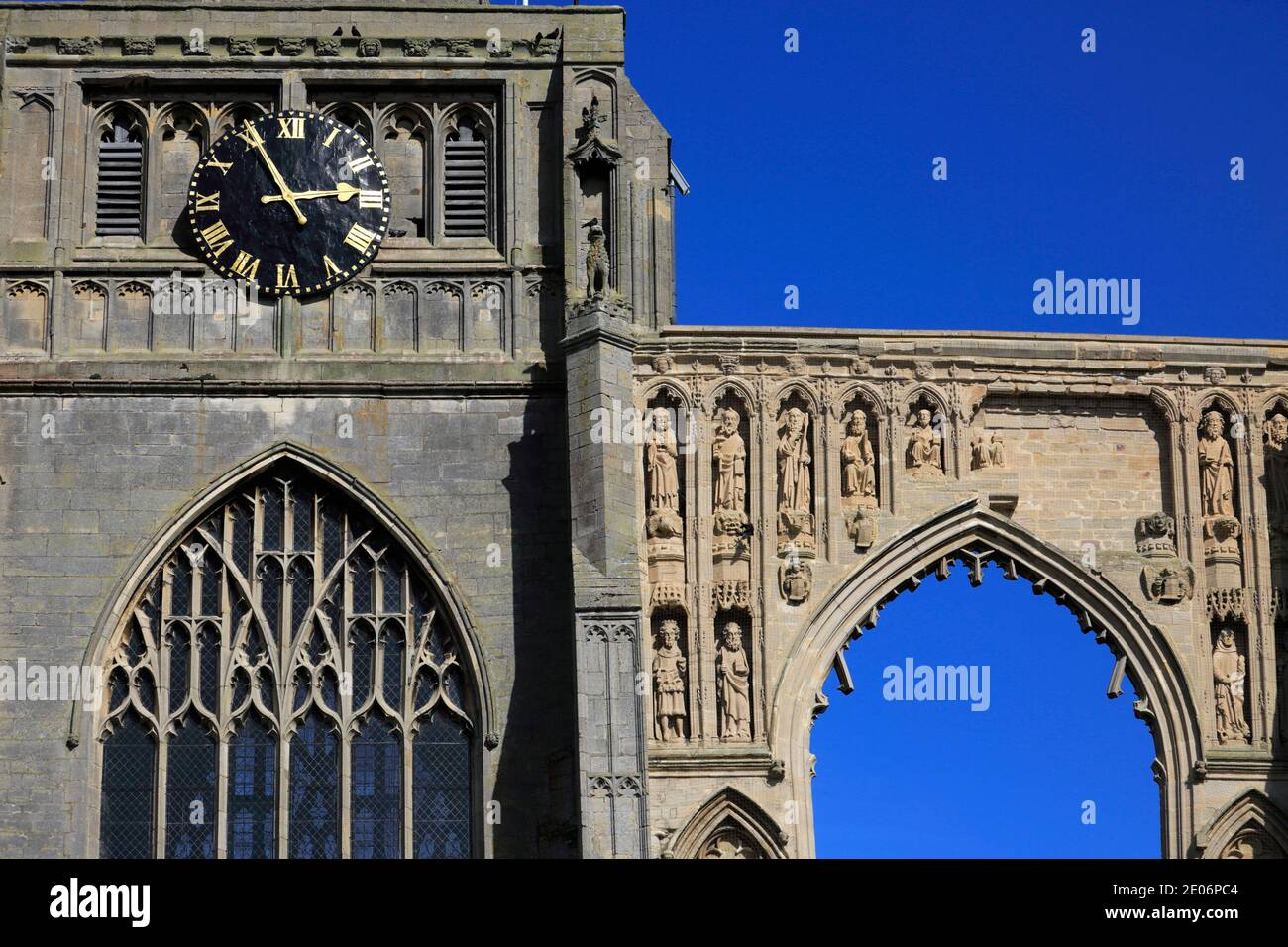 Summer view of Crowland Abbey; Crowland town; Lincolnshire; England; UK Stock Photo